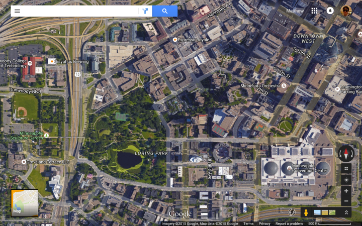 Loring Park - Scale 500 ft - Satellite