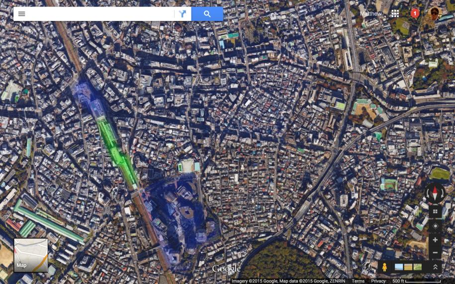 Satellite view of the same area.