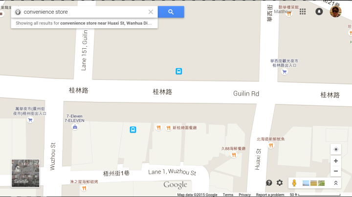 Map of 7-11 on Guilin Road